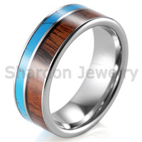 Wholesale Tungsten Couples Wedding Rings - 6mm and 8mm Tungsten Turquoise and Koa Wood Ring with High Polishing Comfort Fit Engagement Wedding Band