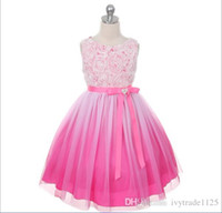 Wholesale Wholesale Beautiful Short Dresses - 2017 NEW ARRIVAL 4 color hot selling 3D stereo flower Princess girls dress Beautiful Princess Girl Dress grenadine Dresses