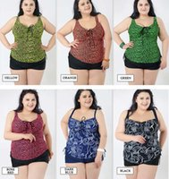 Wholesale Covering Belly Swimsuit - new style plus large bikini look slimming cover belly women swimsuit with bra pad 6 colors 2XL-6XL free shipping