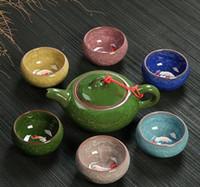 Wholesale Ceramic Fish Pot - Paul Ceramic DrinkwareTea Sets With ,Exquisite Ice crack glaze Tea Set, Porrtery Teaset, 1 tea pot and 6 tea cups Fish cups