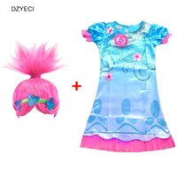 Wholesale Wigs For Carnival - Trolls Costume For Girl Dress Carnival Clothes Teenager Kid Poppy Frock 2017 Children Cosplay Wig Deguisement Elza 10 11 12 Year
