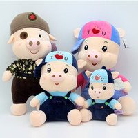 Wholesale Pig Toys For Birthday Gifts - Variety of pigs wearing hat short plush toys dolls for pillow gifts home furnishings birthday gifts