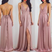 Wholesale Celebrity Dresses For Cheap - Charming Spit Chiffon Long Evening Prom Dresses A Line Halter Neck Sexy Criss Cross Backless Long Party Gowns for Celebrity Holidays Cheap