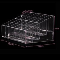 Venda por atacado - HOT SALE Clear Acrylic 24 titular do batom Display Stand Cosmetic Storage Rack Organizer Makeup Makeup Case Box