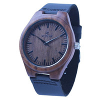 Wholesale Drop Shi - Men's Bamboo Wooden Wristwatches Natural Quartz Wooden Bamboo Watch Clock Genuine Brown Leather Strap Top Brand Luxury Watches Drop Shi