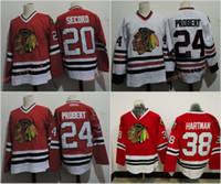 camisetas negras de blackhawks al por mayor-Chicago Blackhawks # 24 Bob Probert 1996 # 20 AL SECORD 1983 Ryan Hartman Red White Camisetas de hockey sobre hielo Envío de la gota