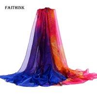 Wholesale Silk Rainbow Scarf - Wholesale- [FAITHINK] 2017 New Fashion Women Large Silk Scarf Shawl Femme Rainbow Color Block Poncho Bandana Brief Winter Long Wrap Scarves