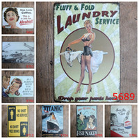 Wholesale Wall Stickers Laundry - Titanic Laundry Coffee Vintage Craft Tin Sign Retro Metal Poster Bar Pub Signs Wall Art Sticker(Mixed designs)