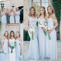 Wholesale short wedding dress sweetheart neckline online - Cheap beach country Bridesmaid Dresses Light Sky Blue Chiffon A Line Ruched Mixed Neckline Beach Wedding Guest Party Gowns Long