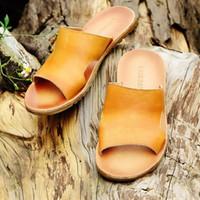 Wholesale Pedals Straps - 2017 New Men fashion Non-slip beach Outdoors shoes Genuine Leather shoe Lounger A pedal Leisure Single shoe Cowhide Business Sandals 17220