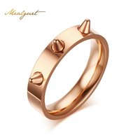 Wholesale Self Defense Ring Jewelry - Meaeguet Rose Gold Color Nail Women Ring Punk Style Stainless Steel Self-Defense Rings 4 Colors Female Party Jewelry R-180