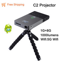 Wholesale C2 Android - Wholesale-New C2 Smart Mini Projector full hd Portable 5G Wifi Project DLNA Android OS 1G DDR 8G ROM Built in 5000MA Battery led Projector