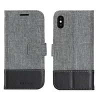 Wholesale Iphone Denim Wallet Case - Case For iphone X with Cards Slots Fashion wallet Environmental denim fabric Leather Case Flip Cover For iphone 10 Back Cover