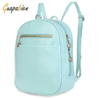 Wholesale Korea Backpack Wholesale - Wholesale- Guapabien 7 Candy Color Women Back Pack Bag Japan Korea Teenage Student School Travel Bagpack Girls PU Leather Small Backpack