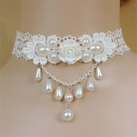 Wholesale lace pearl choker - Trendy Bohemia White Flower Choker Necklace Collar Women pearl Jewelry Accessories Fashion White Lace Wedding Necklaces