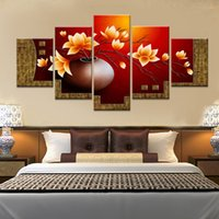 Wholesale Magnolia Wall - 5 piece Magnolia flower vase canvas print oil painting wall pictures for living room paintings (no frames)