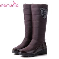 Wholesale Elastic Knee High Boots - Wholesale-Large size 2016 new fashion Russia keep warm women snow boots round toe platform knee high boots fur winter boots