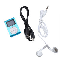 lcd bildschirmkabel großhandel-Mini-Clip-MP3-Player mit LCD-Bildschirm FM-Radio-Kopfhörer Kleinkasten USB-Kabel Unterstützung Micro-SD-Karte frei DHL