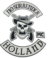 Wholesale large iron patches - New NO SURRENDER Motorcycle Embroidered Iron On Patch Large Full Back Size Patch for Jacket Vest Patch G0415 Free Shipping