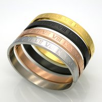Wholesale Roman Gold Bracelet - New Stainless Steel Rose Gold Silver Couples Bracelet Carving Roman Numeral Lover Cuff Bracelet Bangle Wedding Jewelry Men Women