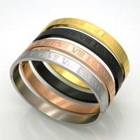 düğün altın bilezikleri toptan satış-Yeni Paslanmaz Çelik Gül Altın Gümüş Çiftler Bilezik Oyma Romen Rakamıyla Lover Manşet Bilezik Bileklik Düğün Takı Erkekler / Kadınlar