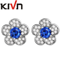 Wholesale Princess Diana Wedding Plate - KIVN Jewelry Blue Flower Earrings CZ Cubic Zirconia Women Girls Princess Diana Wedding Bridal Stud Earrings Birthday Gifts