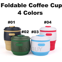 Wholesale Green Tea Portable Cups - Collapsible Foldable Coffee Cup Silicone Tea Mug 350ml Camping Portable Handy Travel Fruit Juice Drink Cups #4239