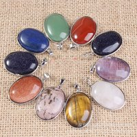 Wholesale Oval Gemstone White - Multicolor Oval Amethyst Crystal Sweater Necklace Pendant DIY 32x21mm Natural Gemstones Charm Pendant Fashion Jewelry Accessories