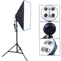 Vente en gros - Yuguang Photo diffuseur Photo Studio Accessoires 100-240V Four Socket Lamp Holder Avec 50 * 70cm Softbox inclut Light Stand
