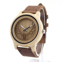 Wholesale women wooden watch - Wholesale- 2016 Deer Head Design Bamboo Wooden Quartz Watches Men Women Luxury Retro Genuine Leather Wristwatch