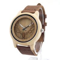 Wholesale wooden buckle - Wholesale- 2016 Deer Head Design Bamboo Wooden Quartz Watches Men Women Luxury Retro Genuine Leather Wristwatch