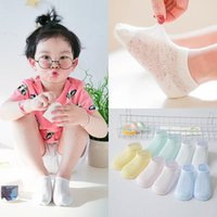 Wholesale Toddlers Anklets Sock - 1-3T Baby Girls Summer Socks 10 Pairs lot Infant Hollow Out Silk Anklet Socks Toddler Boys Pure Color Short Socks