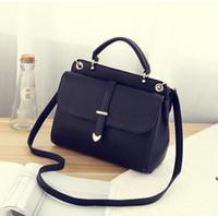 Wholesale Leather Bucket Bag Korean - Women's bag 2017 spring new shoulder bag Messenger bag Korean version of the simple handbag fashion ladies wild postman package