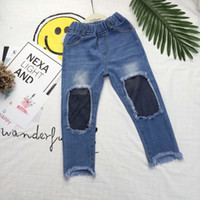 Wholesale Trouser Jeans For Kids - Fishnet Design Children's Denim Trousers Kids Dark Blue Pants Denim Trousers Pants For Girl with PP Bag 2103024