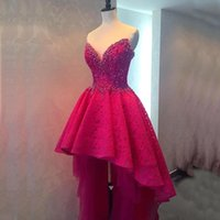 Wholesale Sweetheart Beaded Neckline Short Dress - Gorgeous High Low Prom Dress Sexy Short Front Long Back Lace Party Gowns Custom Made Exquisite Beads Pearls Sweetheart Neckline