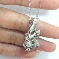 Wholesale Love Wish Pearl Cages Locket Necklace Freshwater Pearls Oyster Pendant Necklace Excluding Pearl Canned Mermaid Pendant Necklace