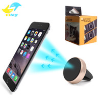 Wholesale Car Phone Mount Wholesale - Universal Air Vent Magnetic Mobile Phone Holder with package for iPhone Samsung Aluminum Silicone Mount car phone Holder Stand
