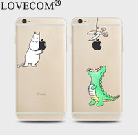 Wholesale Iphone 5c Crocodile - Hot Cartoon Crocodile Soft TPU Phone Case Transparent Ultra-thin Phone Back Cover For iPhone 4 4S 5 5S SE 5C 6 6S 7 Plus YC5060
