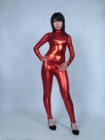 Wholesale metal tights - RED Elastic tights Glue Spandex lycra Metal flashing color Adult Sexy suit Stage performances in service