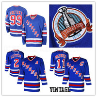 Wholesale Nhl Hockey Rangers - New York Rangers 2# Brian Leetch 11# Mark Messier Hockey Jersey CCM Men's Embroidery And 100% Stitched 99# Wayne Gretzky NHL Jerseys