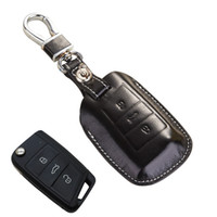 Discount 3d seat - Leather Remote Control Key Fob Cover for Skoda 2016 Superb Combi 2017 Kodiaq for Seat Ateca Accessories Key Case Holder Chain