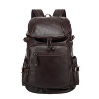 Atacado- 2016 Waterproof Men Mochila Design Couro Men's Travel Bag Casual Vintage Mountaineering Bag School Laptop Backpack Brown