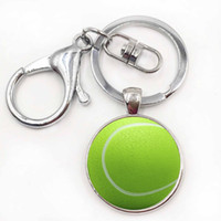 Wholesale Tennis Ball Keychain - exquisite handmade Tennis Ball glass keychain for men women casual sports lovers jewelry car key chain ring holder