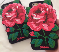 caso preto vermelho do iphone silicone venda por atacado-Bonito silicone grande rosa vermelha flor case black silicone capa para apple iphone 7 7 plus 6 6 plus