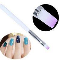pluma de dibujo de manicura al por mayor-Venta al por mayor-2PC Nail ABuilder UV Gel Dibujo Pintura Pincel Lápiz Para Herramienta de manicura Ggradient Cepillos de color púrpura para diseño de uñas