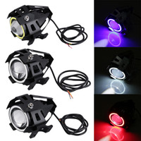 Wholesale motorcycle headlight lenses - Motorcycle electric car lamp U7 laser gun angel eye lens LED headlight 15W