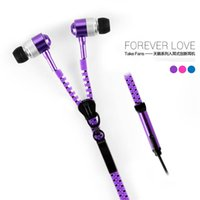 Wholesale Purple Pc Headset - Zipper Earphones Headsets In Ear Earbuds Headphones Mic for Mobile Phone MP3 MP4 Tablet PC 100pcs Free DHL Shipping