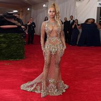 2017 Sexy Beyonce Вечерние платья Чистые вышитые бисером аппликации Crystal See Through Nude Naked Backless Celebrity Gown Prom Party Long Sleeve