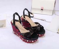 Wholesale Ladies Wedge Shoes Ankle Straps - 2017ss runway high heel heeled wedge pearls women lady summer platform sandal footwear shoes welcome drop ship G2351