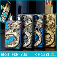 Wholesale dragon electronics resale online - New hot HB double arc USB rechargeable lighter personality Ultra thin Relief Chinese Dragon Arc electronic cigarette lighter